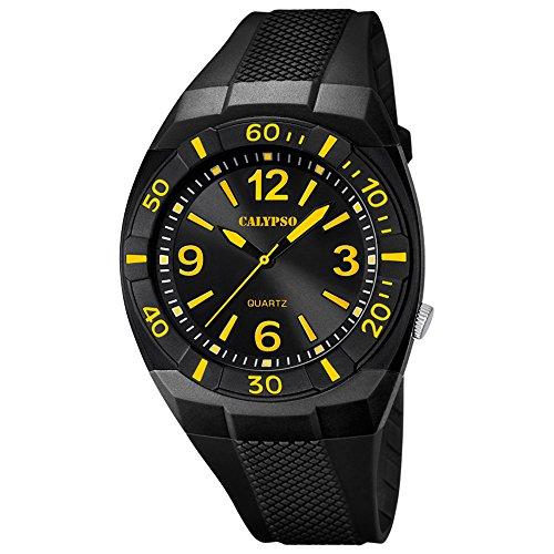 CALYPSO Kinder-Armbanduhr Fashion analog PU-Armband schwarz Quarz-Uhr Ziffernblatt schwarz gelb UK5238/5