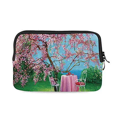 Rustic Mini Compatible with Ipad Bag,Tea Time Theme Vintage Chairs Plum Tree Spring Garden Painting for Work,One Size