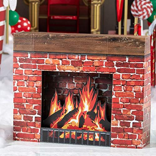 Shindigz Christmas Fireplace Cardboard Cutout Party Decoration Prop Standup Background Decor Scene Setter -