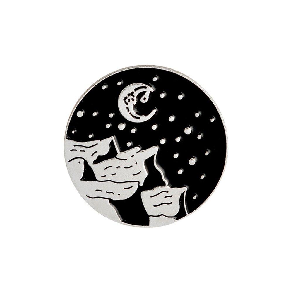 ink2055 Enamel Round Retro Moon Star Dagger Accessory Party Denim Coat Jacket Backpack Brooch Pin Badge - 2#