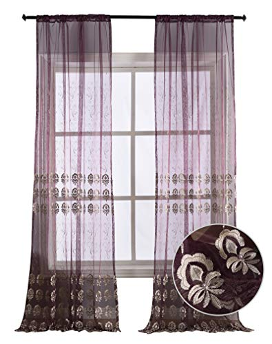 BW0057 Classic Europern Style Flower Embroidered Sheer Curtain Window Treatment Transparent Rod Pocket for Bedroom Living Room (1 Panel, W 50 x L 95 inch, Purple) 1300769C1BYHVT15095-8512