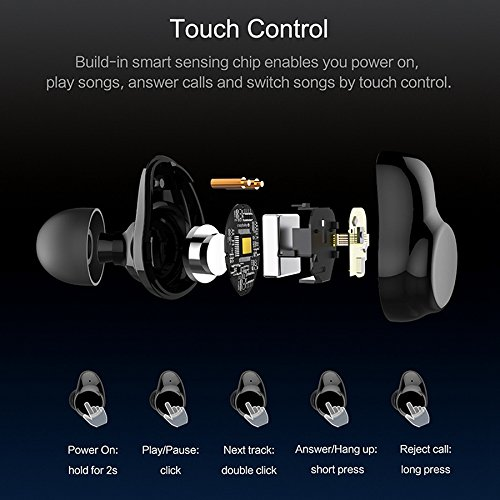 True Wireless Earbuds Langsdom X7 Mini Bluetooth 4.2 Headphones In-Ear Noise Isolating Earphones with Mic Smart Touch Control and Portable Charging Box for iPhone Samsung and More by Langsdom (Image #2)
