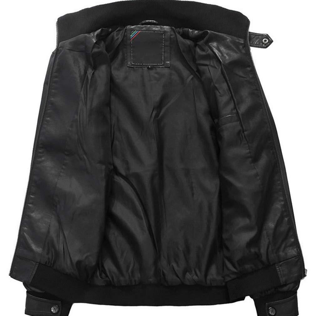 Uomo Giacca Ecopelle Biker Moto Stile Motociclista Giacca Quotidiano con Cerniera Vintage alla Moda Casual Jacket Outwear