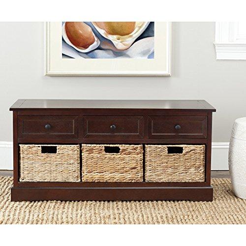 Safavieh American Homes Collection Damien Dark Cherry 3 Drawer Storage Unit - Aluminum Drawer Unit