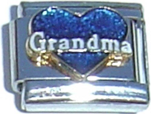 Grandma Blue Heart White Letters Italian Charm