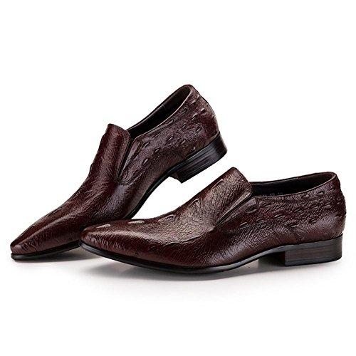 Hombres Inteligente Oxford Formal Negocio para los hombres Ponerse Cuero Zapatos Punta puntiaguda Negro marrón Boda Oficina Trabajo Brown