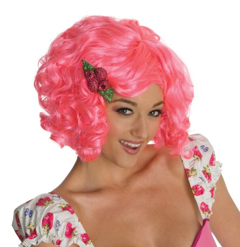 Secret Wishes Strawberry Shortcake Adult Deluxe Wig, Raspberry, -