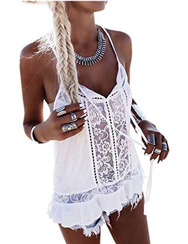 Ninimour Women's Sleeveless Low Cut Irregular Strappy Blouse Crop Tops (Medium, T-White) (People T-shirt Womens Cut)
