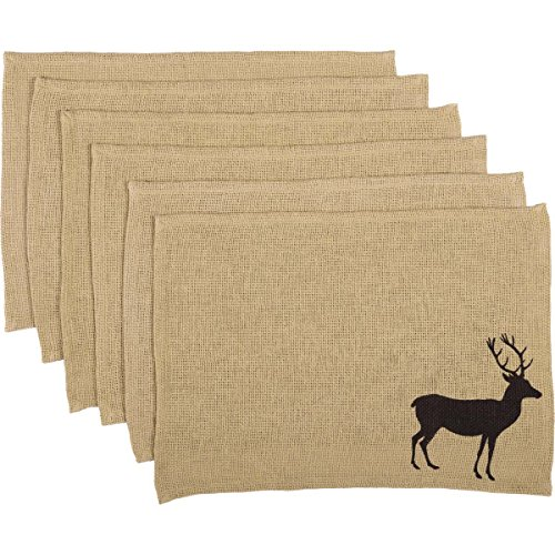 VHC Brands Rustic & Lodge Tabletop & Kitchen - Barrington Tan Stenciled Burlap Placemat Set of 6, 12