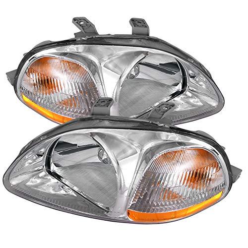 Carpartsinnovate Fit Honda 96-98 Civic EK EJ JDM Clear Head Lights Amber Turn Signal Lamps - Honda 4dr Civic Crystal