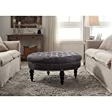 Linon Isabelle Tufted Round Ottoman For Sale