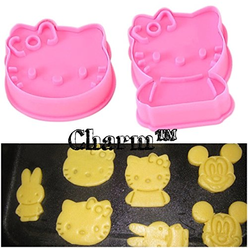 Kitty Cookie Cutters 2 pieces Plastic DIY Baking (Generic)Hello Kitty Birthday Party by (Hello Kitty Cookie Cutter)