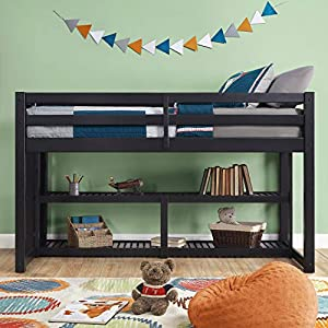 Better Homes and Gardens Loft Storage Bed with Spacious Storage Shelves, Multiple Finishes, Slate 9