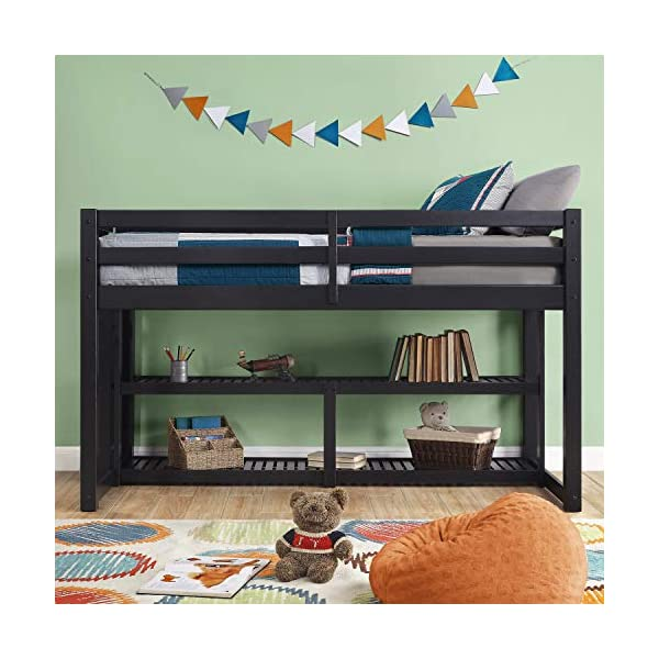 Better Homes and Gardens Loft Storage Bed with Spacious Storage Shelves, Multiple Finishes, Slate 1