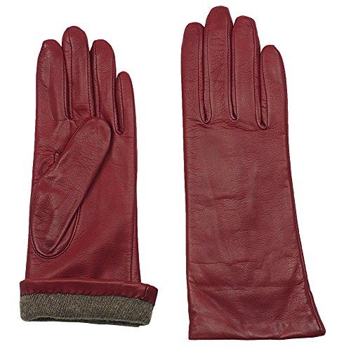 GRANDOE Women's MELODY Sheepskin Leather Glove, Warm Cashmere Lined 3 btn length (Red, Medium)
