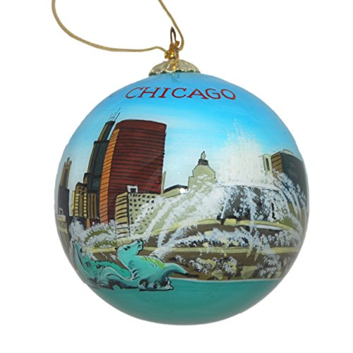 Hand Painted Glass Christmas Ornament - Buckingham Fountain Chicago, ()
