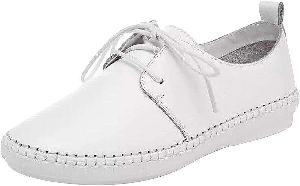 Jamron Mujer Suave Cuero con Cordones Plano Cómodo Hospital Zapatos de Enfermeria Blanco J1006 EU38