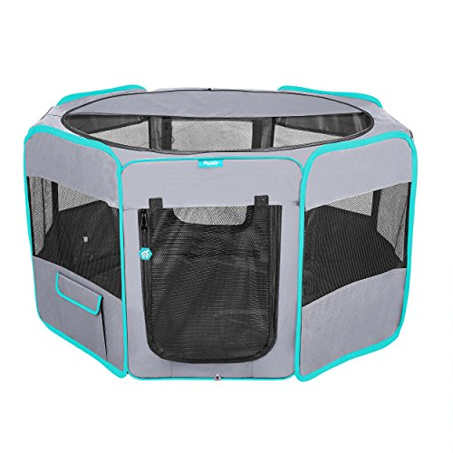 Deluxe Premium Pet Dog Playpen Portable Soft Dog Exercise Pen Kennel with Carry Bag for Dogs, Cats, Kittens, and All Pets (Large, Grey)