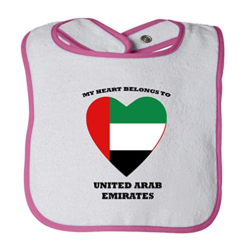 Cute Rascals Love Soccer Heart United Arab Emirates #1 Tot Contrast Trim Terry Bib White/Hot Pink