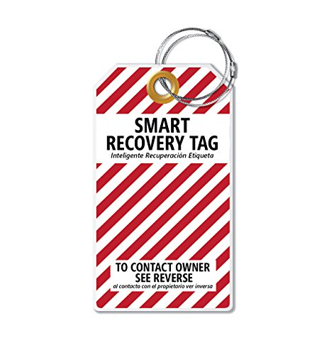 Dynotag PROTAGZ series Web/GPS Enabled QR Smart MEGA Luggage Tag w. Double Steel Loops - in Six Designs (CandyCane)