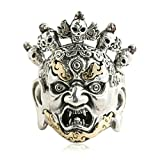 Bishilin Silver Plated Rings for Men Skull with Flame Partner Rings Silver Size 9