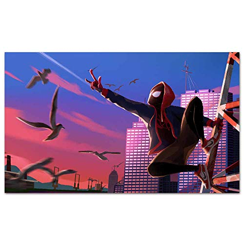 Cool Posters Miles Morales Web Shoot Spiderman Spider Picture Print on Canvas for Home Decor 28x 20 inches