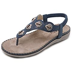 1bcb1146771 Women s Bohemia Summer Sandals T-Strap Beach Flat Casual Shoes