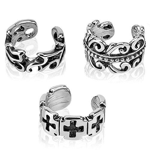 UNU Style 3pcs Multi Design Rhodium Plated Brass Non Piercing Ear Cuff (3 PCS Set B)