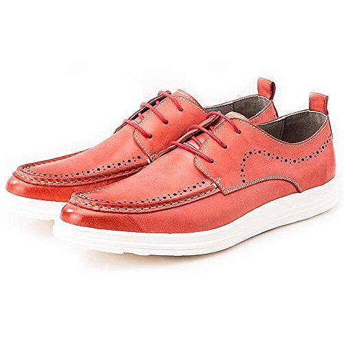 Mens Leder Freizeit Sehnen Schuhe Dress Herbst Business Hochzeit Mode Rutschen Rot Braun Rot