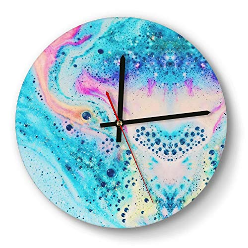 Newpz Colorful Neon Marble Stylish Silent Wall Clock Decorative Quiet Desk Clock for Office