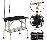 K&A Company Pet Lift Hydraulic Grooming Table Z Dog Adjustable Arm W Noose - 42.5 x 23.6 Inches Black