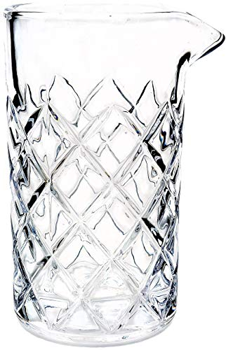 Cocktail Mixing Glass/Bar Mixing Glass 25oz / 750ml, Clear - Diamond Cut Pattern, Japanese Style [Lead ()