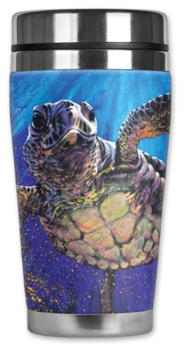 [Mugzie Sea Turtle Travel Mug with Insulated Wetsuit Cover, 16 oz, Black] (Turtles Suit)