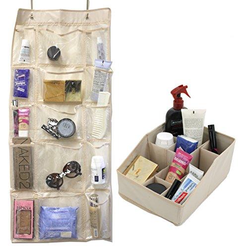 Paylak SCR688 Set Over the Door Storage 15 Pocket and Vanity Organizer Beige by Paylak