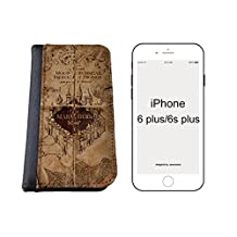 Harry Potter Marauders Map Inspired iPhone 6 plus (5.5 inch) PU Leather Wallet Case By caseOrama