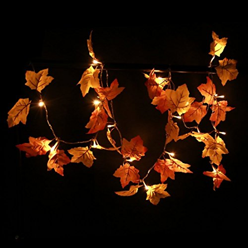 SILIVN Decorations Lighted Fall Garland | 8.2 Feet | 20 Lights