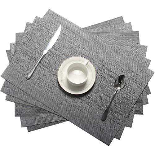 (Pauwer Placemats Set of 8 for Dining Table Crossweave Woven Vinyl Kitchen Table Placemats Washable)