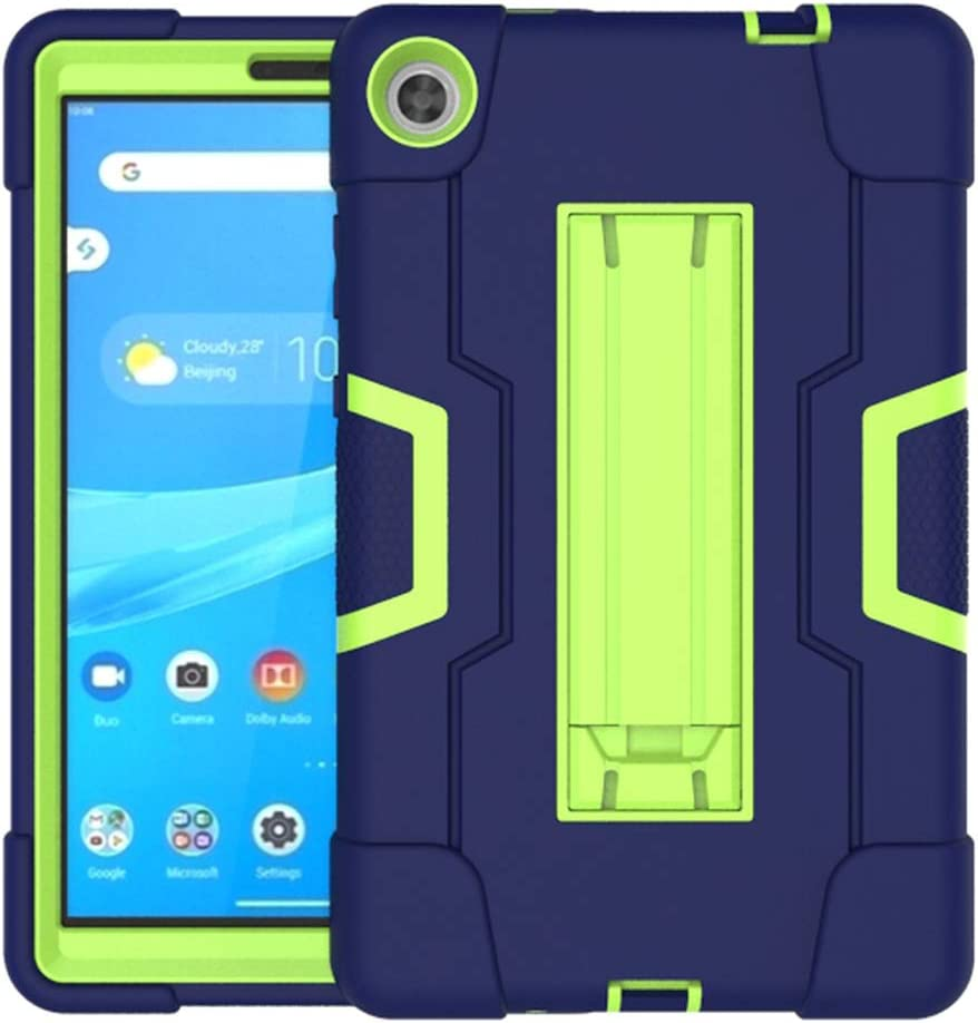 Koolbei Case for Lenovo Tab M8 Case,Heavy-Duty Drop-Proof and Shock-Resistant Rugged Hybrid case(with Built-in Stand),for Lenovo Tab M8 8.0 inch Tab Case(Navy/Green)