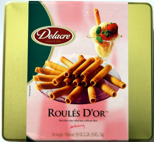 Delacre Biscuits (Delacre Exquisite European Biscuits ROULES D'OR Rich Thin crepe rolled into a delicate flute Tin Box Net Weight 35.3 OZ (1000 g))