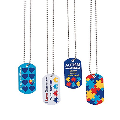 Autism Awareness Dog Tag Necklaces (Set of 12) Blue ()