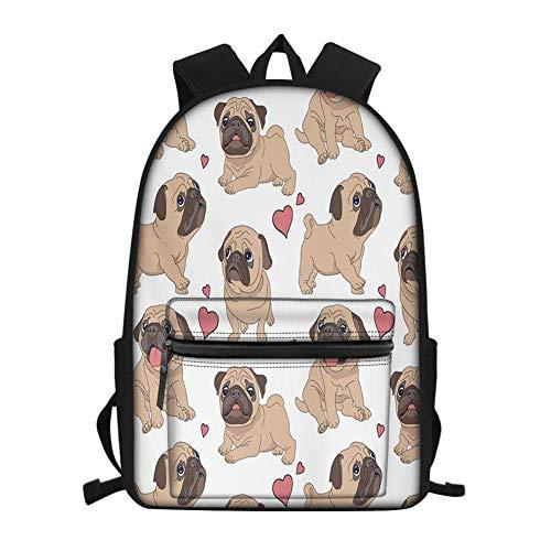 Backpacks Bags for Teenager Lady Laptop Bag Girl's Mermaid Lullaby Patern Adjustable Strap Rucksacks White Heat Bulldog