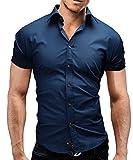Merish Kurzarm Herren Hemd Slim Fit 13 Farben Größen S-XXL 77 Blau M