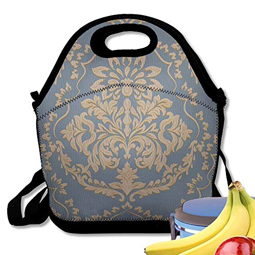 Insulated Neoprene Lunch Bag Vintage Baroque Damask Luxury Classic Ornament Royal Victorian Wallpapers ILE Fabric Reusable Soft Lunch Tote for Work and School