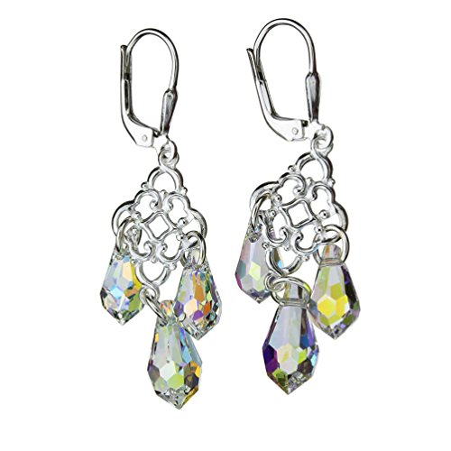 (Sterling Silver Floral Link Leverback Earrings Aurora Borealis Teardrop Made with Swarovski Crystals)