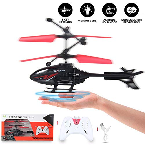 Lesgos Remote Control Helicopter, Gesture Induction Aircraft Hand Operated Drone with Gyro and LED Light, RC Helicopter Flying Toys for Kids & Adults, Black