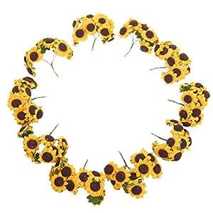 WINOMO 100pcs Sunflower Artificial Flower Bouquet Home Wedding Decoration 30