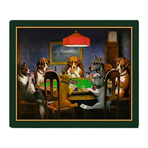 CafePress Poker Dogs Friend (Green Border) Soft Fleece Throw Blanket, 50