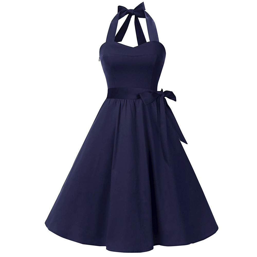 Party Dress for Women Sexy Ladies Plus Size Vintage Bodycon Sleeveless Halter Bow Pleated Evening Party Prom Swing Princess Dress Navy