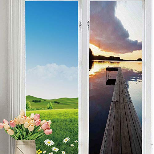 (YOLIYANA Frosted Glass Sticker Easy Removal Art View of Sunset Over an Old Oak Deck Pier and Calm Water of The Lake Horizon Serenity for Moving Glass Doors 70