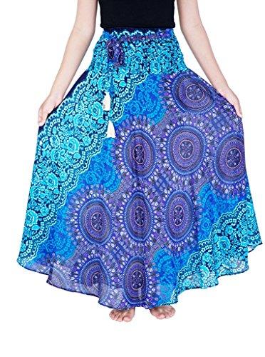 - Lannaclothesdesign Women's Long Maxi Skirt Bohemian Gypsy Hippie Style Clothing (US Size 0-16, Blue Rose)